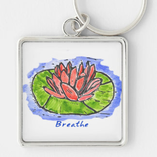 Red Lotus Breathe Lino Cut Silver-Colored Square Keychain