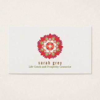 Red Lotus Flower Health & Wellness Elegant Floral Business Card