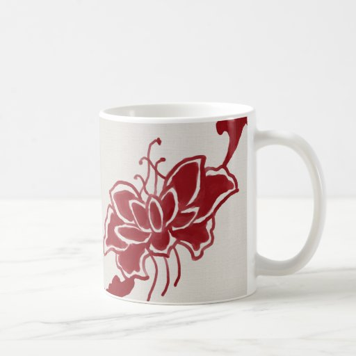 Red Lotus Flower Mug