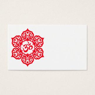 Red Lotus Flower Om Business Card