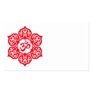 Red Lotus Flower Om Business Card Templates