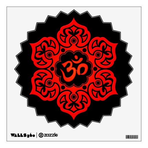 Red Lotus Flower Om on Black Room Decals