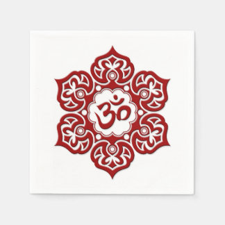 Red Lotus Flower Om on White Paper Napkin