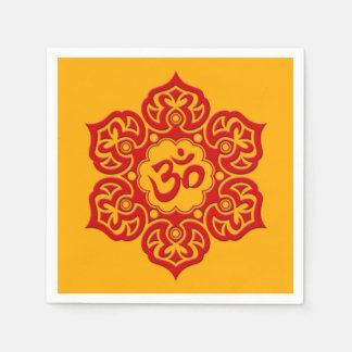 Red Lotus Flower Om on Yellow Disposable Napkins
