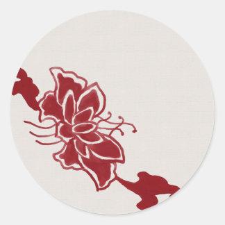 Red Lotus Flower Sticker Seal