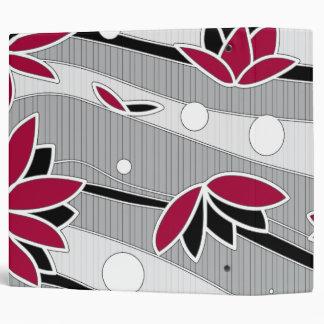 Red Lotus Flowers on Gray Stripes Binder