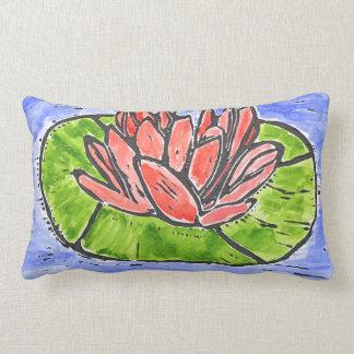 Red Lotus Lino Cut Lumbar Pillow