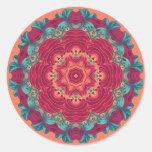 Red Lotus Mandala Classic Round Sticker