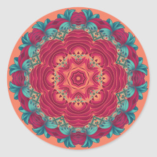 Red Lotus Mandala Classic Round Sticker