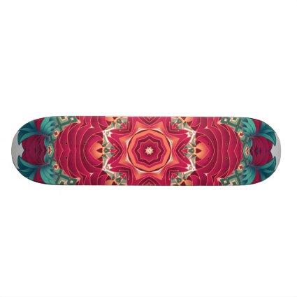 Red Lotus Mandala Custom Skateboard