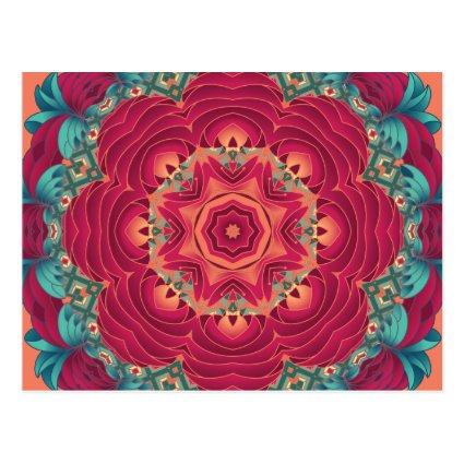 Red Lotus Mandala Postcard