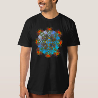 Red Lotus on a Blue Orb Tee Shirt