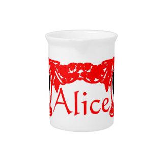 Red Love Alice Vintage Frame Template Beverage Pitchers