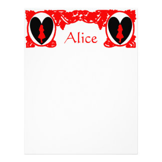 Red Love Alice Vintage Frame Template Letterhead