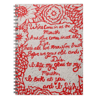 Red Love and Wine Notebook
