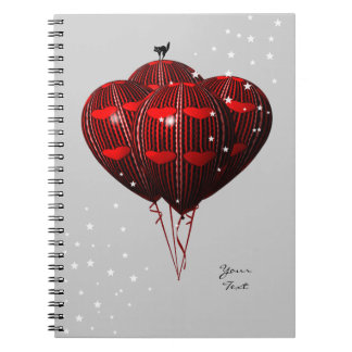 Red Love Balloons Notebook