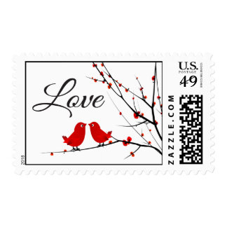 Red Love Birds Custom US Postage Stamps