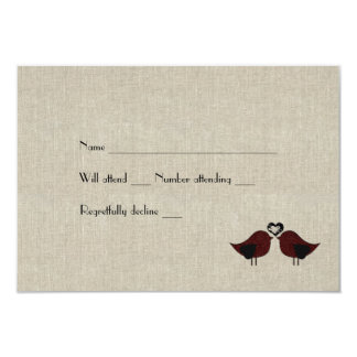 Red Love Birds Linen Look rsvp with envelopes Card