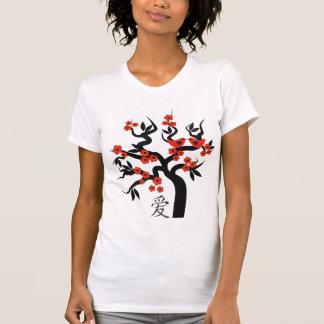 Red love Birds On Sakura Tree Chinese Love Symbol Tshirts