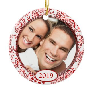 Red Love Birds Your Photo Christmas Ornament ornament