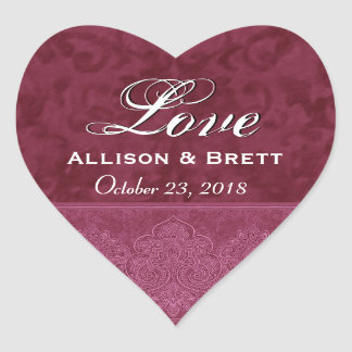 Red Love Bride and Groom Date Heart Sticker