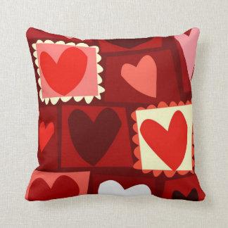 Red love cartoon hearts valentine pillow