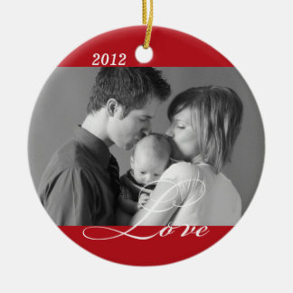 Red LOVE custom photo holiday sentiment keepsake Double-Sided Ceramic Round Christmas Ornament