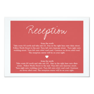 Red Love Design Wedding Direction Reception Cards