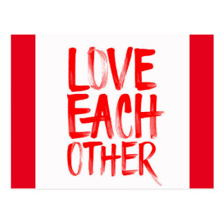 RED LOVE EACH OTHER MOTTO QUOTES MOTIVATIONAL POSTCARD