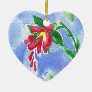 Red Love Flower aceo Ornament