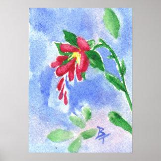 Red Love Flower Print
