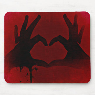 Red love hands heart mouse pad