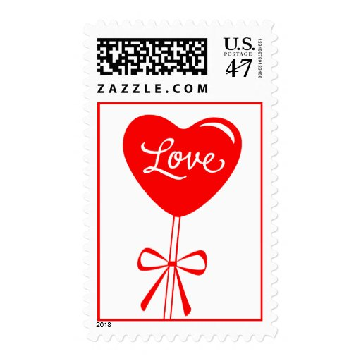 Red Love Heart Balloon Postage Stamps