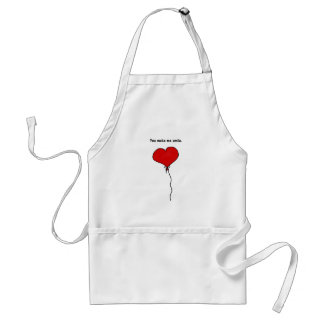 Red Love Heart Balloon You Make Me Smile Adult Apron