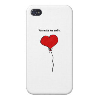 Red Love Heart Balloon You Make Me Smile iPhone 4 Covers