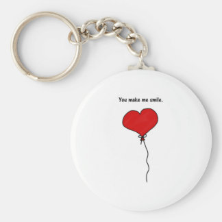Red Love Heart Balloon You Make Me Smile Keychain