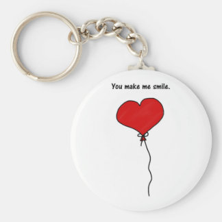 Red Love Heart Balloon You Make Me Smile Keychains