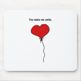 Red Love Heart Balloon You Make Me Smile Mouse Pad