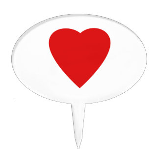Red Love Heart Oval Cake Pick
