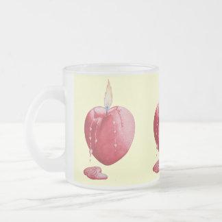 Red love heart candle illustration art china mug