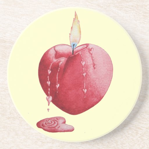 Red love heart candle illustration art coaster drink coaster