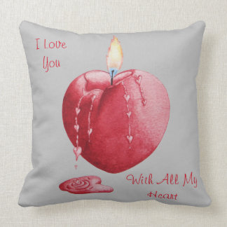 Red love heart candle illustration art cushion throw pillow