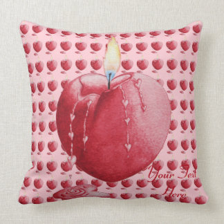 Red love heart candle illustration art cushion pillow
