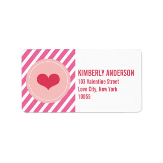 Red Love Heart Circle And Stripes Address Labels