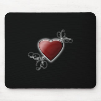 Red Love Heart Glowing Against Midnight Black Mouse Pad