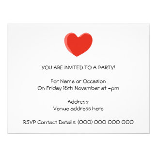Red Love Heart Personalized Invites