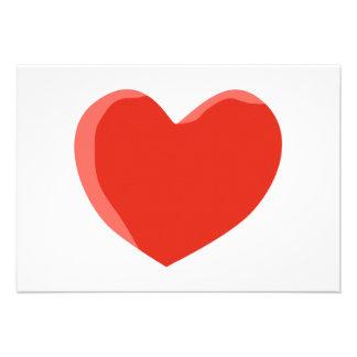 Red Love Heart Custom Announcements