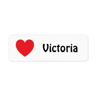 Red love heart name tags