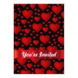 Red love heart pattern 5x7 paper invitation card