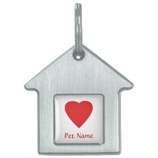 Red Love Heart. Pet Tag